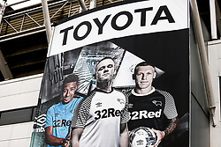 Toyota branding featuring Derby County manager Wayne Rooney - Mandatory by-line: Ryan Crockett/JMP - 16/01/2021 - FOOTBALL - Pride Park Stadium - Derby, England - Derby County v Rotherham United - Sky Bet Championship