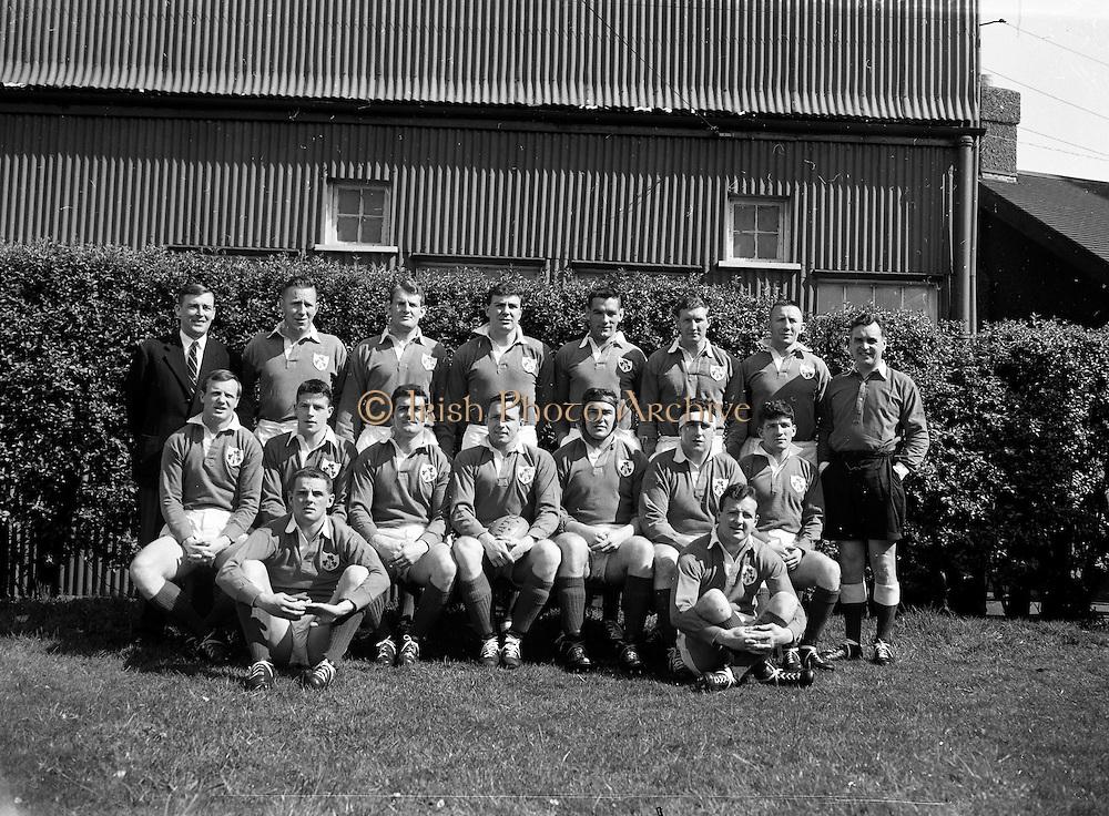 Irish Rugby Football Union, Ireland v France, Five Nations, Landsdowne Road, Dublin, Ireland, Saturday 15th April, 1961,.15.4.1961, 4.15.1961,..Referee- G J Treharne, ..Score- Ireland 3 - 15 France, ..Irish Team, ..T J Kiernan,  Wearing number 15 Irish jersey, Full Back, University college Cork Football Club, Cork, Ireland,  ..A J F O'Reilly, Wearing number 14 Irish jersey, Right Wing, Dolphin Rugby Football Club, Cork, Ireland, ..D Hewitt, Wearing number 13 Irish jersey, Right centre, Queens University Rugby Football Club, Belfast, Northern Ireland,..J C Walsh,  Wearing number 12 Irish jersey, Left Centre, University college Cork Football Club, Cork, Ireland,..N H Brophy, Wearing number 11 Irish jersey, Left wing, Blackrock Rugby Football Club, Dublin, Ireland, ..M A English, Wearing number 10 Irish jersey, Stand Off, Garryowen Rugby Football Club, Limerick, Ireland, ..A A Mulligan, Wearing number 9 Irish jersey, Scrum Half, London Irish Rugby Football Club, Surrey, England, ..B G Wood, Wearing number 1 Irish jersey, Forward, Landsdowne Rugby Football Club, Dublin, Ireland,..A R Dawson, Wearing number 2 Irish jersey, Captain of the Irish team, Forward, Wanderers Rugby Football Club, Dublin, Ireland, ..S Millar, Wearing number 3 Irish jersey, Forward, Ballymena Rugby Football Club, Antrim, Northern Ireland,..T J Nesdale, Wearing number 4 Irish jersey, Forward, Garryowen Rugby Football Club, Limerick, Ireland, ..C J Dick, Wearing number 5 Irish jersey, Forward, Ballymena Rugby Football Club, Antrim, Northern Ireland,..D Scott, Wearing number 6 Irish jersey, Forward, Malone Rugby Football Club, Belfast, Northern Ireland, ..J R Kavanagh, Wearing number 8 Irish jersey, Forward, Wanderers Rugby Football Club, Dublin, Ireland,..M G Culliton, Wearing number 7 Irish jersey, Forward, Wanderers Rugby Football Club, Dublin, Ireland, ..
