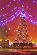 The central street of Burgas in Christmas decorations