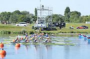 Eton Dorney, Windsor, Great Britain,..2012 London Olympic Regatta, Dorney Lake. Eton Rowing Centre, Berkshire[ Rowing]...Description;  GBR W4X Race start GBR W4X.   10:00:02  Saturday  28/07/2012.[Mandatory Credit: Peter Spurrier/Intersport Images].
