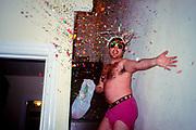 Man throwing confetti.