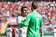 Manchester United Goalkeeper David De Gea consoles Real Madrid Midfielder Casemiro after his penalty miss during the AON Tour 2017 match between Real Madrid and Manchester United at the Levi's Stadium, Santa Clara, USA on 23 July 2017.