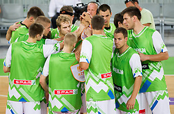 Players of Slovenia during basketball match between National teams of Slovenia and Bosna and Herzegovina in day 1 of Adecco cup, on August  3, 2012 in Arena Stozice, Ljubljana, Slovenia. (Photo by Vid Ponikvar / Sportida.com)