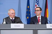 """16 MAR 2017, BERLIN/GERMANY:<br /> Wolfgang Schaeuble (L), CDU, Bundesfinanzminister, und Steven Terner """"Steve"""" Mnuchin (R), Fianzminister der Vereinigten Staaten von Amerika, USA, waehrend einer Pressekonferenz nach einem gemeinsamen Treffen, Bundesministerium der Finanzen<br /> IMAGE: 20170316-03-012<br /> KEYWORDS: Wolfgang Schäuble, Steve Mnuchin, Treasury secretary"""