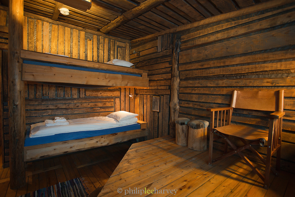 A bunked cabin room at a hotel in Longyearbyen, Spitsbergen. Spitsbergen is the largest island of the Svalbard archipelago in the Arctic Circle, Norway