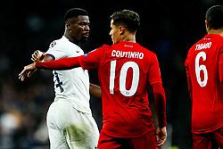 Philippe Coutinho splits up Serge Aurier of Tottenham Hotspur and Thiago Alcantara of Bayern Munich - Rogan/JMP - 01/10/2019 - FOOTBALL - Tottenham Hotspur Stadium - London, England - Tottenham Hotspur v Bayern Munich - UEFA Champions League Group B.