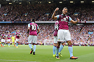 Rudy Gestede of Aston Villa celebrates after he scores his teams 1st goal.EFL Skybet championship match, Aston Villa v Rotherham Utd at Villa Park in Birmingham, The Midlands on Saturday 13th August 2016.<br /> pic by Andrew Orchard, Andrew Orchard sports photography.