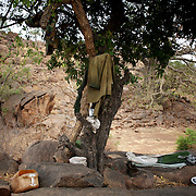 May 02, 2012 - Kauda, Nuba Mountains, South Kordofan, Sudan: General view of a Sudan People's Liberation Movement (SPLA-N) rebel fighter belongings in Jebel Kwo military base near Tess village in the rebel-held territory of the Nuba Mountains in South Kordofan. SPLA-North, a historical ally of SPLA, South Sudan's former rebel forces, has since last June being fighting the Sudanese Army Forces (SAF) over the right to autonomy and of the end of persecution of Nuba people by the regime of President Bashir.
