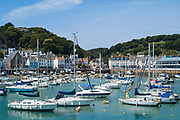 Pleasure craft - yachts, cruisers and speed boats - moored at St Aubin's Bay, parish of St Brelade Jersey, Channel Isles