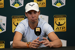 October 28, 2018 - Paris, France - RAFAEL NADAL of Spain speaks with the media prior to the start of the Rolex Paris Masters tennis tournament in Paris France. (Credit Image: © Christopher Levy/ZUMA Wire)
