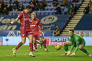 Stuart Nelson (Gillingham) makes a comfortable save during the Sky Bet League 1 match between Wigan Athletic and Gillingham at the DW Stadium, Wigan, England on 7 January 2016. Photo by Mark P Doherty.