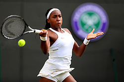 Cori Gauff in action against Venus Williams on day one of the Wimbledon Championships at the All England Lawn Tennis and Croquet Club, Wimbledon.
