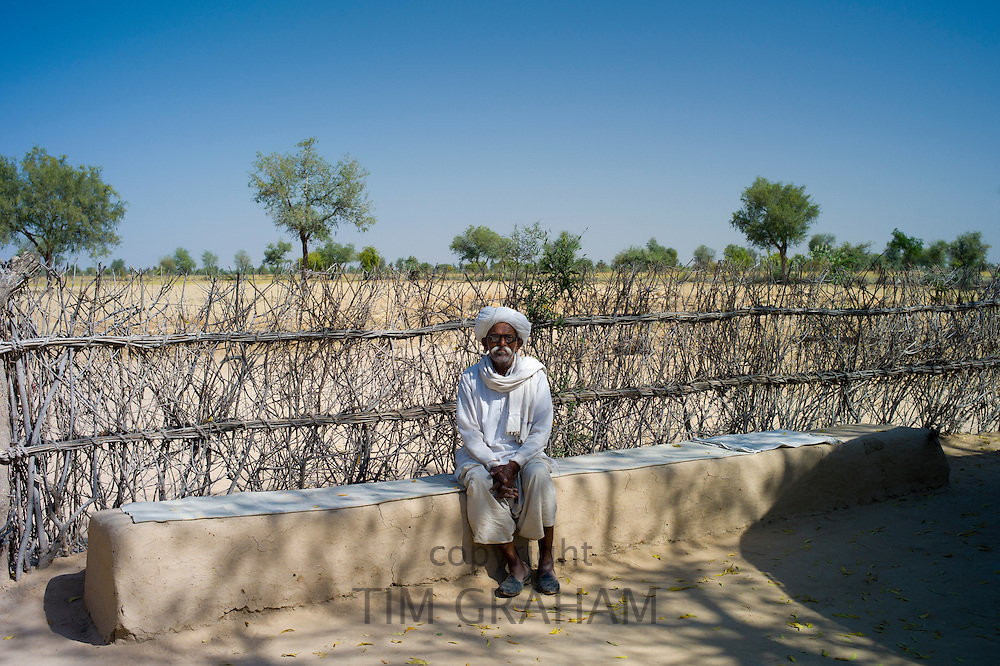 Indian Bishnoi man at Bishnoi village near Rohet in Rajasthan, Northern India