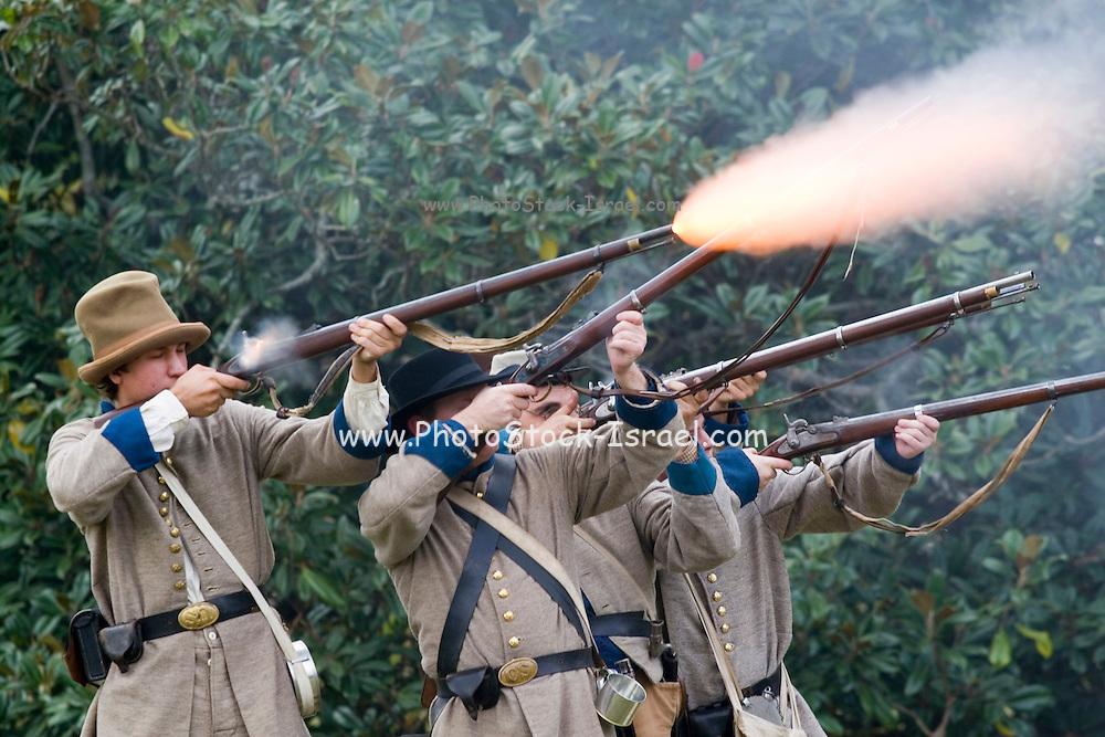 Arkansas, AR, USA, Old Washington State Park, Civil War Weekend. Confederate soldiers at battle