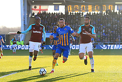 7th January 2018 - FA Cup - 3rd Round - Shrewsbury Town v West Ham United - Carlton Morris of Shrewsbury battles with Angelo Ogbonna Obinze of West Ham (L) and Winston Reid of West Ham (R) - Photo: Simon Stacpoole / Offside.