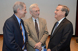Robert Alpern, Dean School of Medicine, Thomas Pollard, Dean, Graduate School of Arts and Sciences and Richard C. Levin, President Yale University. Yale Biology Alumni Conference 4 May 2012
