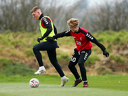Alfie Mawsonand Sam Bell of Bristol City during a training session ahead of the FA Cup game with Portsmouth - Rogan/JMP - 07/01/2021 - Failand - Bristol, England.