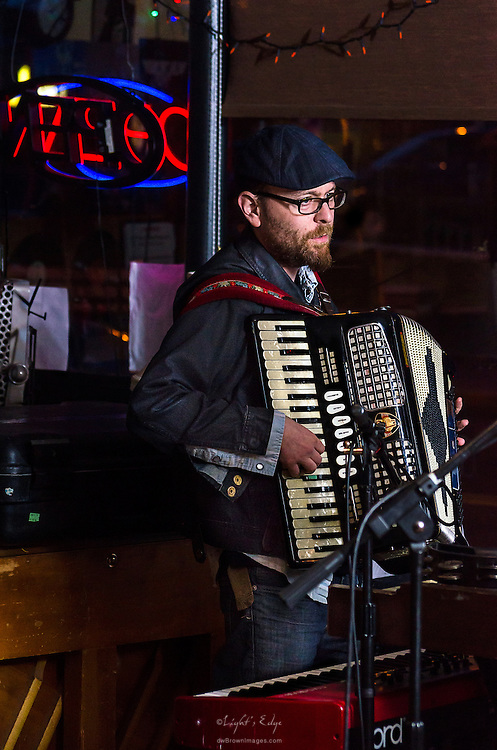 Josh Gold on the accordian (and keyboard) performing with The Adam Ezra Group at The Bus Stop Music Cafe in Pitman, NJ.