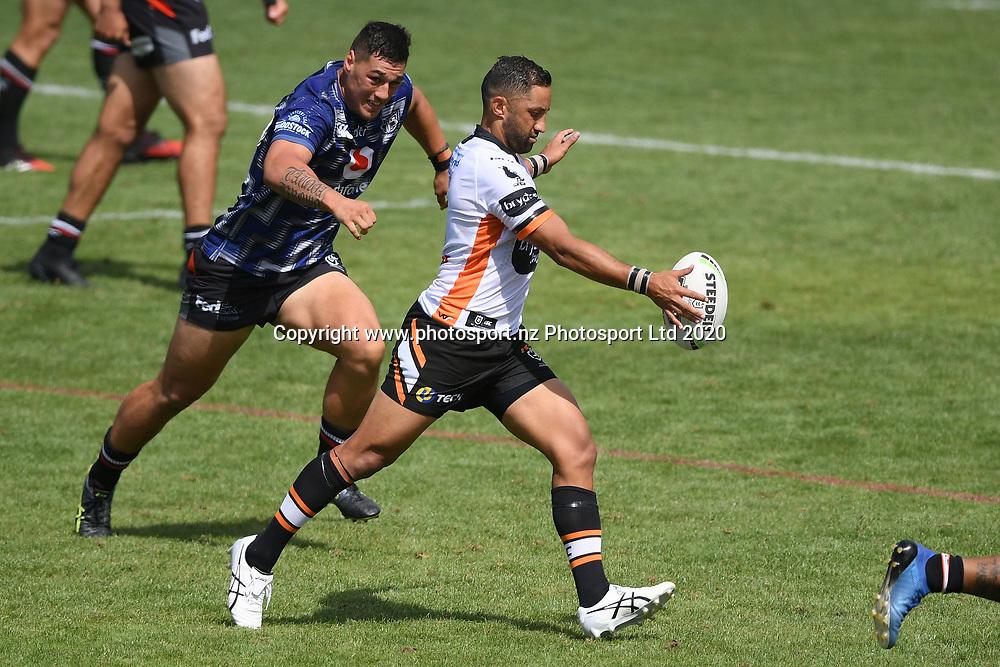 Wests Tigers Benji Marshall kicks in the NRL Trial, Vodafone Warriors v Wests Tigers, Rotorua Stadium, Rotorua, Sunday, March 01, 2020. Copyright photo: Kerry Marshall / www.photosport.nz