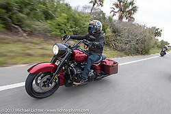 """Custom bike builder Jesse Rooke riding an all new 2017 Harley-Davidson Road King Special with its 107"""" Milwaukee-Eight engine near Flagler Beach during Daytona Beach Bike Week. FL. USA. Tuesday, March 14, 2017. Photography ©2017 Michael Lichter."""
