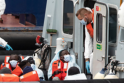 © Licensed to London News Pictures. 06/09/2020. DOVER, UK. UK Border Force officials land eight male migrants that had been intercepted off the coast of Dover earlier this morning.  Photo credit: Luke Dray/LNP