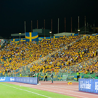 Supporters of team Sweden cheer during the UEFA EURO 2012 Group E qualifier Hungary playing against Sweden in Budapest, Hungary on September 02, 2011. ATTILA VOLGYI