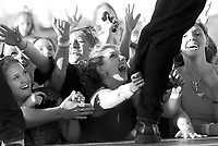 Fans of the boy band, O-Town, cheer as the group performs in the Wal-Mart parking lot in Springdale.