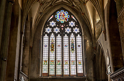 "© Licensed to London News Pictures; 16/06/2020; Bristol, UK. Bristol Cathedral has this week covered up the name of Edward Colston on the giant north window, the largest stained glass window in the cathedral and known as the ""Colston window"", in the ongoing controversy over the 17th century slave trader and philanthropist's place in Bristol's history and the many references to him in the city. The inscription that has been covered up read ""To the Glory of God and in Memory of Edward Colston 1636 – 1721"" The cathedral's action comes just over a week after the statue of Edward Colston which stood in Bristol city centre for over 100 years was pulled down by protestors and thrown in Bristol Docks during a Black Lives Matters rally and march through the city centre. The rally was held in memory of George Floyd, a black man who was killed on May 25, 2020 in Minneapolis in the US by a white police officer kneeling on his neck for nearly 9 minutes. The killing of George Floyd has seen widespread protests in the US, the UK and other countries against both modern day racism and historical legacies of slavery. Edward Colston (1636 – 1721) was a wealthy Bristol-born English merchant involved in the slave trade, a Member of Parliament and a philanthropist. He supported and endowed schools, almshouses, hospitals and churches in Bristol, London and elsewhere, and his name is commemorated in several Bristol landmarks, streets, three schools and the Colston bun. References to Edward Colston have also been removed or covered up at St Mary Redcliffe church in Bristol. Photo credit: Simon Chapman/LNP."