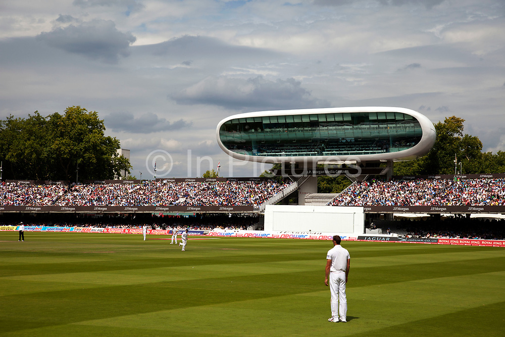 """Lord's Cricket Ground during a test between England and India. Lord's Cricket Ground (generally known as Lord's) in St John's Wood, London. Named after its founder, Thomas Lord, it is owned by Marylebone Cricket Club (MCC) and is the home of Middlesex County Cricket Club, the England and Wales Cricket Board (ECB), the European Cricket Council (ECC). Lord's is widely referred to as the """"home of cricket"""".<br /> <br /> The Media Centre, designed by Future Systems, UK was commissioned in time for the 1999 Cricket World Cup and was the first all aluminium, semi-monocoque building in the world. The lower tier of the centre provides accommodation for over 100 journalists and the top tier has radio and television commentary boxes. The centre's only opening window is in the broadcasting box used by Test Match Special. The Building was awarded the RIBA Stirling Prize for architecture in 1999."""