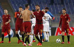 December 5, 2017 - Rome, Italy - Roma s players celebrate at the end of the Champions League Group C soccer match between Roma and Qarabag at the Olympic stadium. Roma won 1-0 to reach the round of 16. (Credit Image: © Riccardo De Luca/Pacific Press via ZUMA Wire)