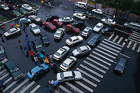 Traffic jam at rush hour on a rainy day in central Beijing, China.