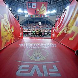 07.09.2014, Jahrhunderthalle, Breslau, POL, FIVB WM, Australien vs Venezuela, Gruppe A, im Bild ZDJECIE PLAKATOW, HALA STULECIA OKLEJENIE BRANDOWANIE FIVB, INFRASTRUKTURA KIBICE DOPING OPRAWA // during the FIVB Volleyball Men's World Championships Pool A Match beween Australia and Venezuela at the Jahrhunderthalle in Breslau, Poland on 2014/09/07. <br /> <br /> ***NETHERLANDS ONLY***