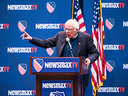 24 OCTOBER 2019 - DES MOINES, IOWA: US Senator BERNIE SANDERS (I-VT) speaks at the LULAC NewsMax TV Presidential Town Hall for Democratic candidates in Des Moines. Julián Castro, Beto O'Rourke, and Bernie Sanders addressed the crowd during the Town Hall, while Tulsi Gabbard appeared via a prerecorded video link. The co-moderators for the Town Hall were Newsmax TV's John Bachman and Spectrum News 1's Annette Garcia.                      PHOTO BY JACK KURTZ