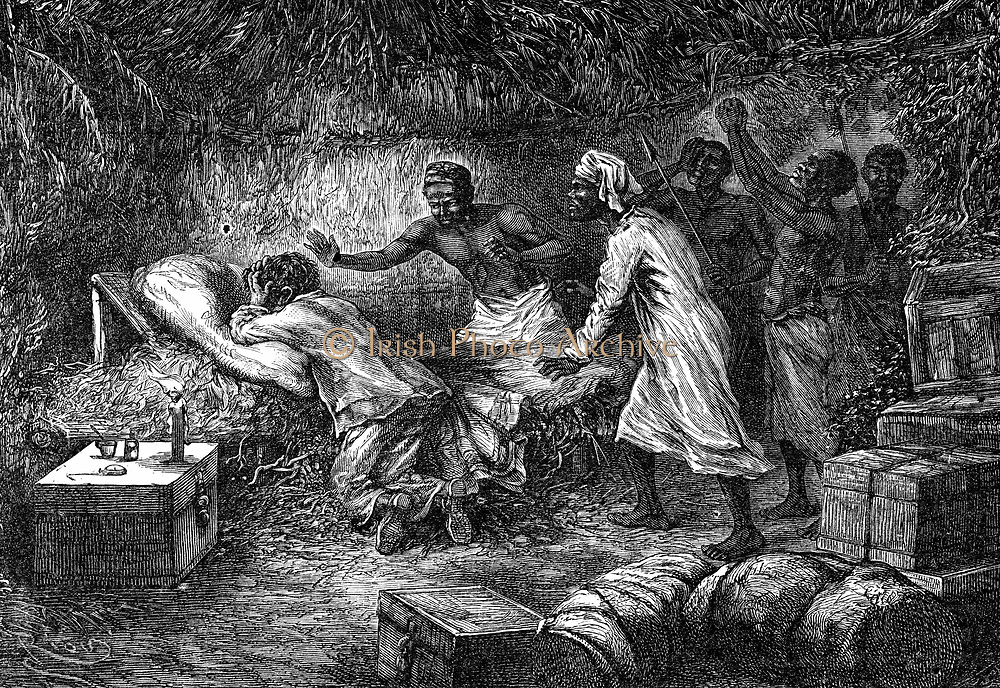 David Livingstone (1813-1873) Scottish missionary and African explorer, kneeling in prayer by his bedside, found dead by his native servants, 1 May 1873:  Ilala district, Zambia. Wood engraving, Paris, 1877.