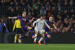 March 14, 2018 - Barcelona, Spain - EDEN HAZARD of Chelsea FC  duels for the ball with IVAN RAKITIC of FC Barcelona during the UEFA Champions League, round of 16, 2nd leg football match between FC Barcelona and Chelsea FC on March 14, 2018 at Camp Nou stadium in Barcelona, Spain (Credit Image: © Manuel Blondeau via ZUMA Wire)