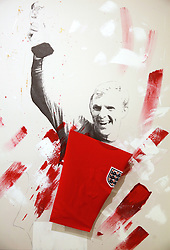 A piece featuring England's Bobby Moore on display at the Art of Football World In Colour Exhibition Preview at Hoxton Arches, London.