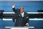 Pastor Mark Burns addresses delegates on the final day of the Republican National Convention July 21, 2016 in Cleveland, Ohio.