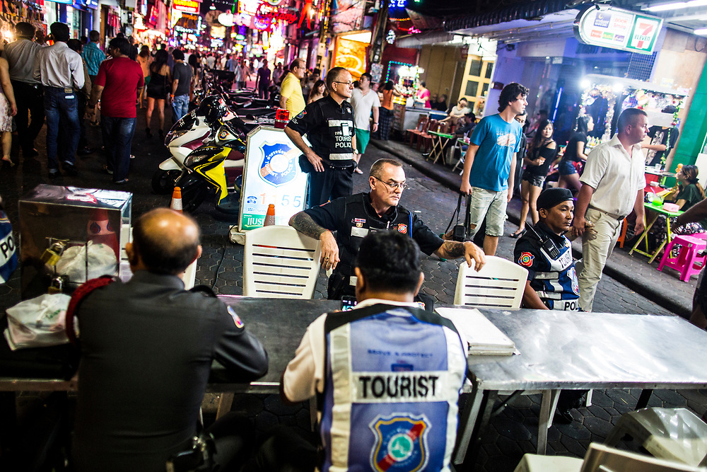 A mobile unit of the Foreign Tourist Police set up along Walking Street in Pattaya, Thailand.