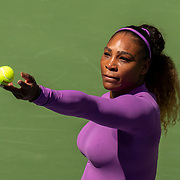 2019 US Open Tennis Tournament- Day Five.  Serena Williams of the United States serving during her match against Carolina Muchova of the Czech Republic in the Women's Singles Round Three match on Arthur Ashe Stadium at the 2019 US Open Tennis Tournament at the USTA Billie Jean King National Tennis Center on August 30th, 2019 in Flushing, Queens, New York City.  (Photo by Tim Clayton/Corbis via Getty Images)