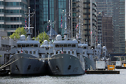 © Licensed to London News Pictures. 01/06/2013. London Docklands, United Kingdom. Eight Leopard class training vessels fro the French Navy in London for three days on a training exercise . credit : Rob Powell/LNP