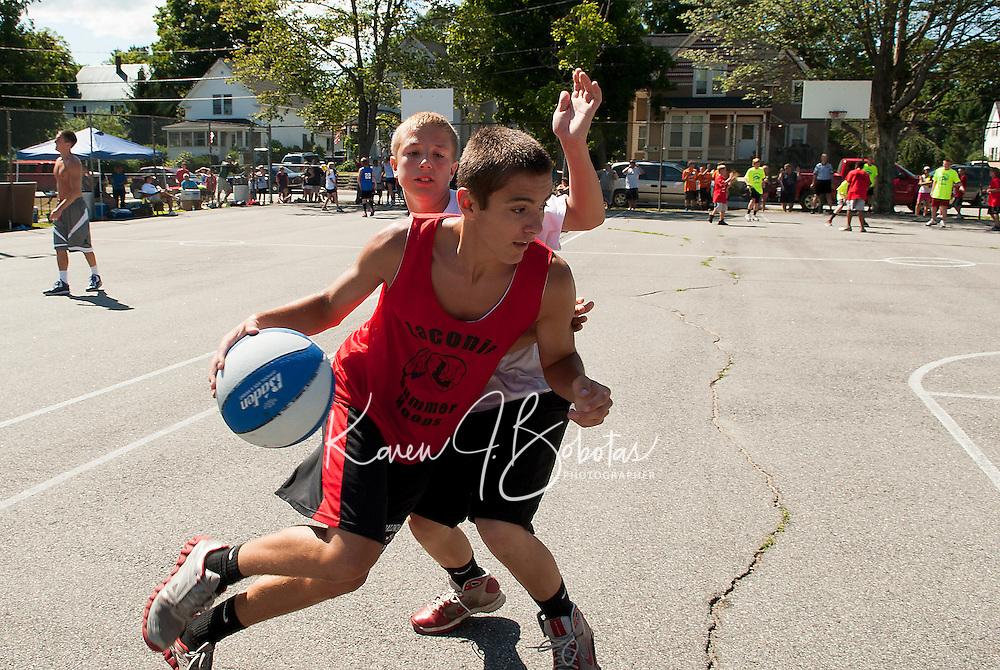3 on 3 Bob Dearborn Memorial Basketball Tournament at Wyatt Park in Laconia July 21, 2012.  Karen Bobotas/for the Laconia Daily Sun