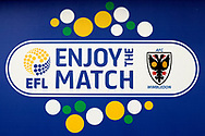 EFL enjoy the match sign during the EFL Sky Bet League 1 match between AFC Wimbledon and Oxford United at the Cherry Red Records Stadium, Kingston, England on 10 March 2018. Picture by Matthew Redman.