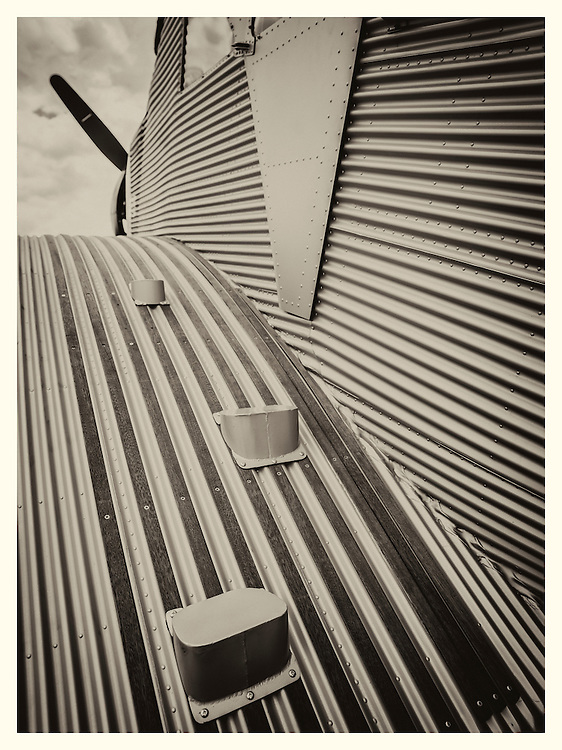 Tread leading to the open cockpit of the Junkers F13, said to be the first metal aircraft that carried passengers.  The German luggage company Rimowa is building new versions of this aircraft for sale.  The passenger cabin was enclosed and heated.<br />