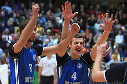 Adam Kaminski and Jernej Potocnik at finals of Slovenian volleyball cup between OK ACH Volley and OK Salonit Anhovo Kanal, on December 27, 2008, in Nova Gorica, Slovenia. ACH Volley won 3:2.(Photo by Vid Ponikvar / SportIda).