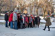 Quebec, Province of Quebec, Canada--November 30, 2019. Christmas carolers sing seasonal songs and hymns outdoors in Old Town Quebec, Canada.