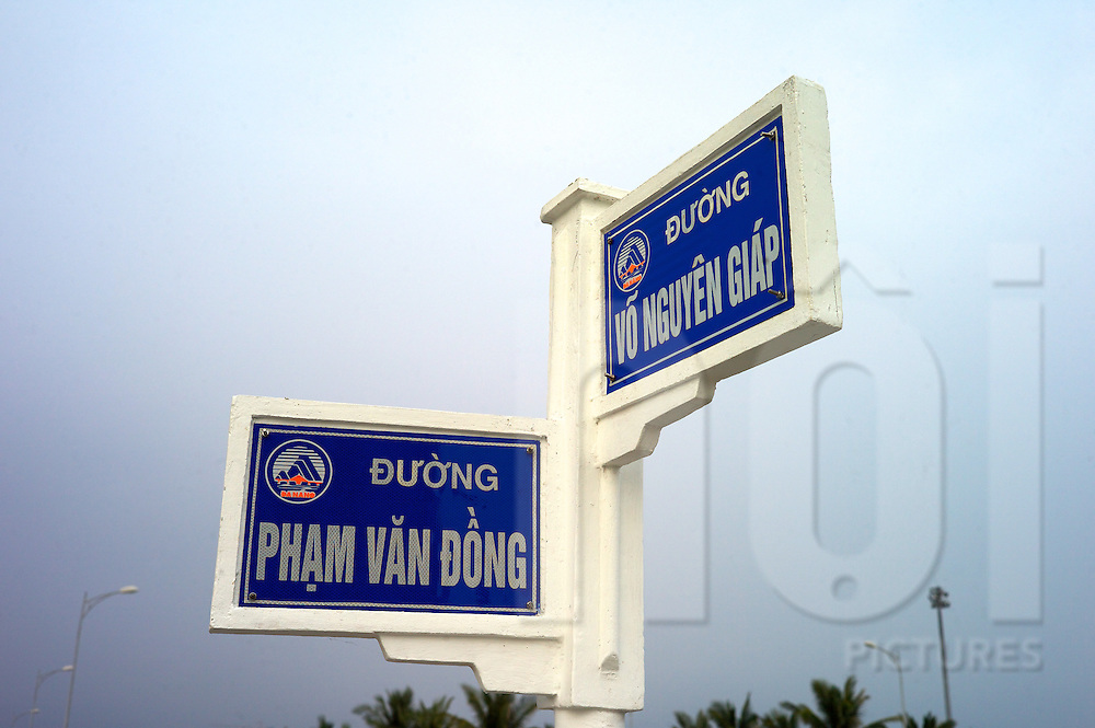 Beach front road signs of avenues named for famous Vietnam leaders, Danang, Vietnam, Southeast Asia