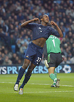 11/12/2004 - FA Barclays Premiership - Manchester City v Tottenham Hotspur - The City of Manchester Stadium.<br />Tottenham Hotspur's Rohan Ricketts turns away in frustration after missing a good chance next to Manchester City's goalkeeper David Seaman<br />Photo:Jed Leicester/Back Page Images