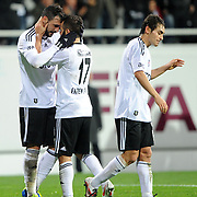 Besiktas's Hugo Almedia celebrate his goal with team mate (L) during their Turkish superleague soccer match Besiktas between Kardemir Karabukspor at BJK Inonu Stadium in Istanbul Turkey on Thursday, 22 December 2011. Photo by TURKPIX
