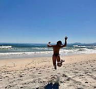 Brazilian actress Juliana Paes playing beach soccer