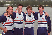 World Rowing Championships, Tampere, FINLAND, 1995, GBR M4-, left Tim FOSTER, Greg SEARLE, Jonny SEARLE, Rupert OBHOLZER. Photo  Peter Spurrier/Intersport Images<br /> email images@intersport-images.com Re-Edited and file ref No. updated, 16th January 2021.